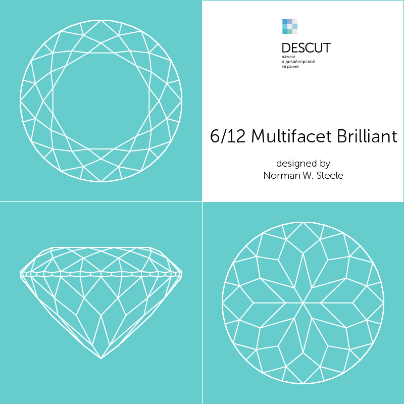 "Схема огранки ""6/12 Multifacet Brilliant"" by Norman W. Steele (1984)"